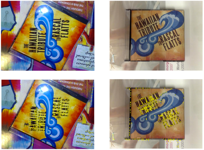 Top: example of two very different images of the same CD cover. Note how the CD cover's appearance is drastically different, due to different lighting, contrast, reflection and the fact that they are rotated with respect to each other, with different backgrounds. Bottom: keypoints overlayed in yellow on the images. Note how the keypoints are, in most cases, found in the same places (in this case upon letters) for both images. Credit: Stanford EE368 class.
