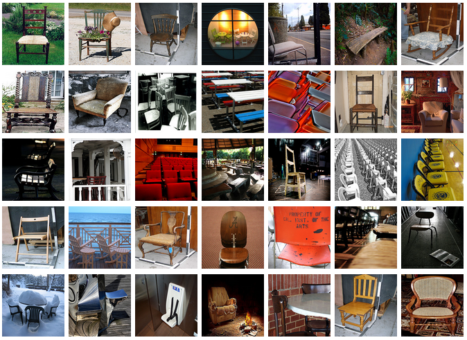 Different images of chairs. Note the very different appearances chairs can take, making it difficult for an algorithm to understand they all pertain to the same category. Credit: ImageNet database, a very large dataset containing 15 million images and 21,000 categories (as of August 2013), frequently used in Computer Vision research.