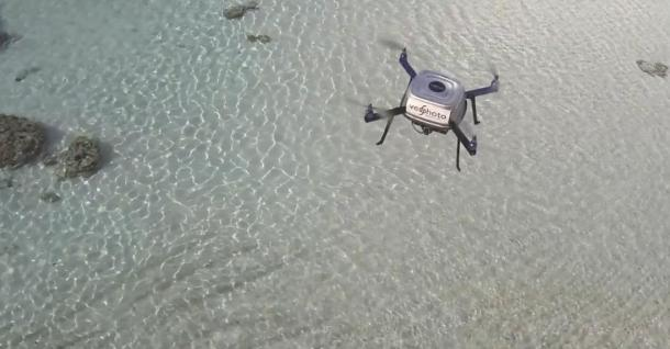 Figure 2: Quad-copter used in Ofu to map coral reef (Photography by Trent Lukaczyk)