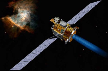 Figure 3: This image shows an artistic view of NASA's Deep Space 1 probe with its ion engine firing. Photo credit: NASA.