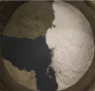 Figure 1: Silica fume (middle left), fly ash (top left) and slag (right) may be used alone or combined to replace cement (lower left)