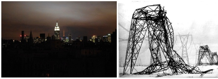 Although developed countries tend not to have scheduled power outages, natural disasters can still cause unexpected power outages, like this blackout in New York caused by Hurricane Sandy (left) and  transmission lines wrecked by an ice storm in Canada (right). Micro-grids may help isolate these outages and minimize their negative consequences. Source: wikicommons and