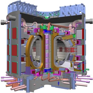 Cartoon of the ITER tokamak, note the person.