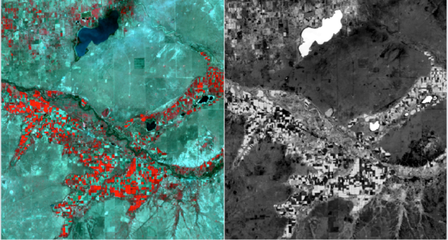 Screenshot of the Erdas Imagine interface: on the left is a false color image showing water bodies (blue/dark) and healthy vegetation as red. On the right is a processed image for daily ET, where pixels with higher ET having a lighter color, for example the water bodies and the irrigated fields.