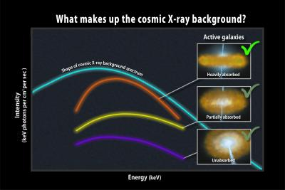 The Cosmic X-ray Background (cyan spectrum) is composed of combined light of all AGN: those less obscured (yellow and purple lines), as well as those heavily obscured by gas and dust (orange line), which are most numerous. Image credit: NASA/Goddard Space Flight Center