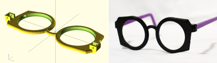 A 3D design of self-refractive glasses using the Adspec lenses and first generation syringe system and digital photograph of the design which has a customizable component (e.g. color choice of the user).