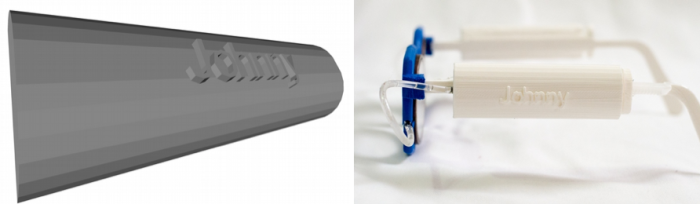 A 3D design of self-refractive glasses using a tube and peristaltic pump with standard Adspec lenses and a photograph of a customizable component of the design.