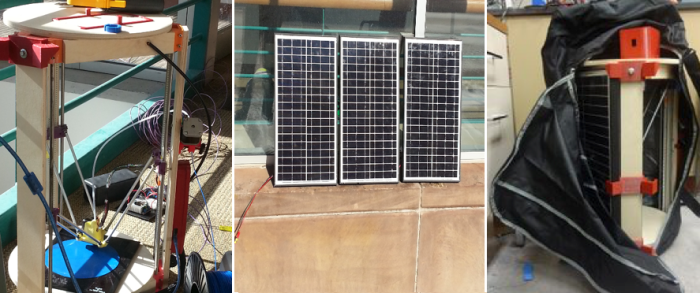 Solar Powered MOST-delta 3D printing, 3 x 12 V, 24 W Solar panels, and Printer with panel mounted in a duffel bag.
