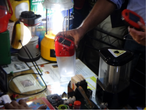 Figure 3. Knock-off of a d.light solar lantern in a shop in Patna, India. While d.light's lanterns are consistently reviewed as being well designed and reliable, the quality of knock-off products is unknown.